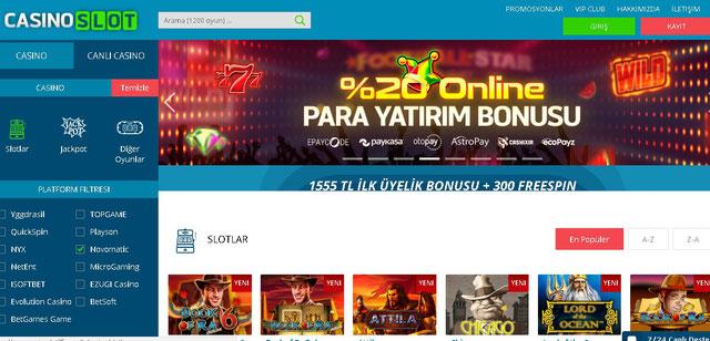 Casino Slot Casino Sayfası Görüntüsü