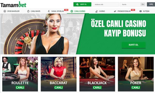 Tamambet Canlı Casino Sayfası Görüntüsü