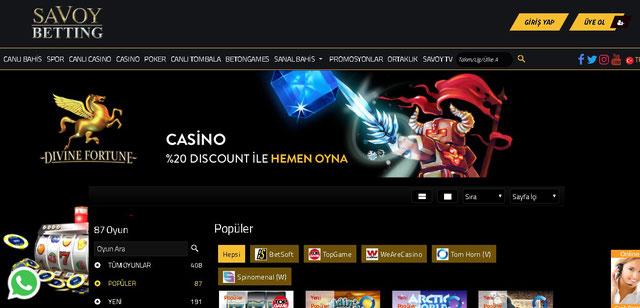 Savoybetting Casino Sayfası Görüntüsü