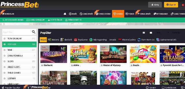 Princessbet Casino Sayfası Görüntüsü