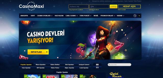 Casinomaxi Casino Sayfası Görüntüsü