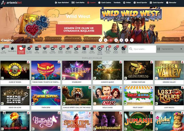 Artemisbet Casino Sayfa Görüntüsü