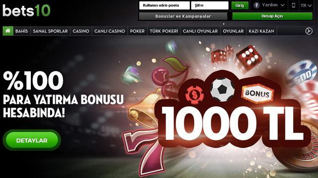 Bets10 1000 TL %100 Para Yatırma Bonusu