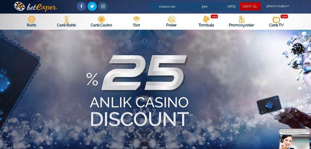 Betexper Canlı Casino Sayfası görüntüsü
