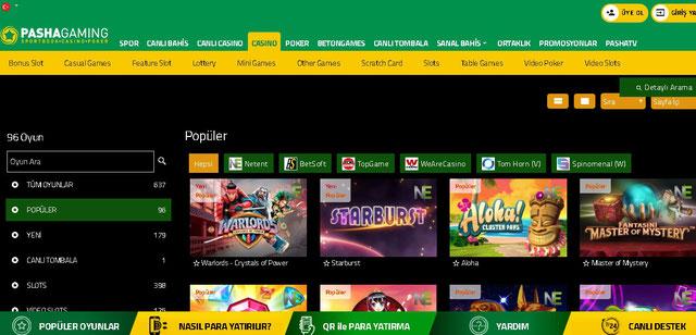 PashaGaming Casino Sayfası Görüntüsü