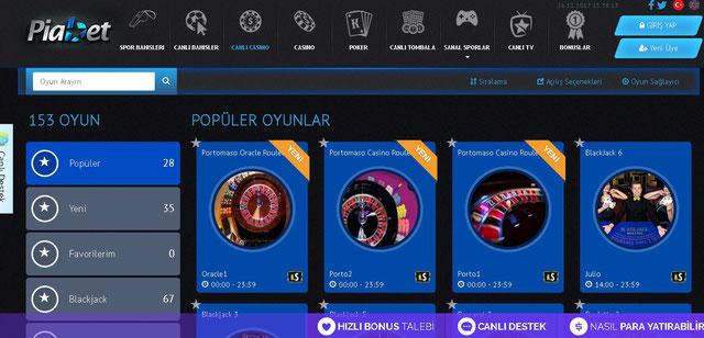 Piabet Canlı Casino Sayfası Görüntüsü