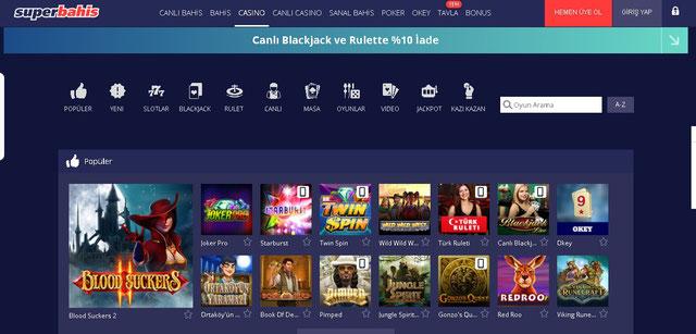 Süperbahis Casino Sayfası Görüntüsü