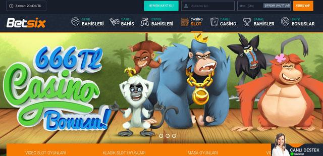 Betsix Casino Sayfası Görüntüsü