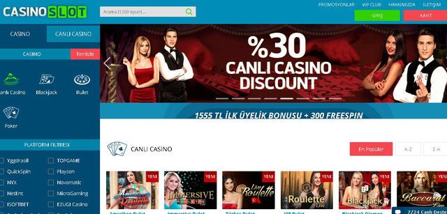 Casino Slot Canlı Casino Sayfası Görüntüsü