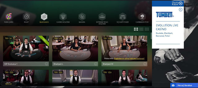 Tümbet evolution canlı casino