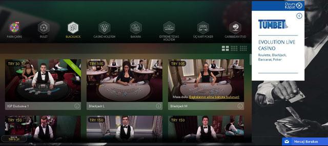Tümbet evolution canlı casino