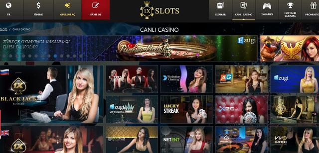 1xSlot Canlı Casino Sayfası Görüntüsü