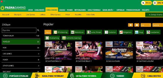 PashaGaming Canlı Casino Sayfası Görüntüsü