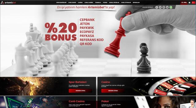 Artemisbet Ana Sayfa Görüntüsü