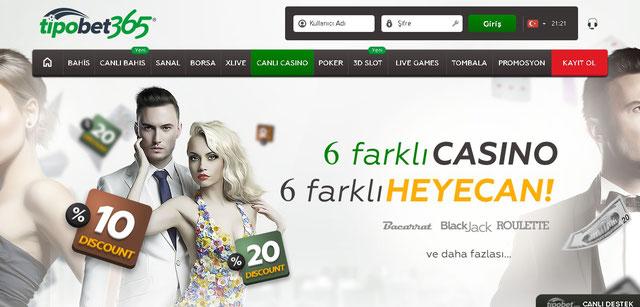 Tipobet365 Canlı Casino Sayfası Görüntüsü