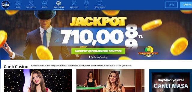 Baymavi Canlı Casino Sayfası Görüntüsü