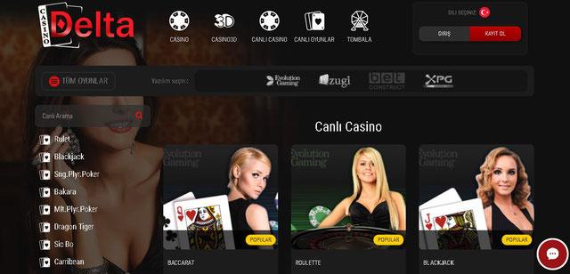 Casino Delta Canlı Casino Sayfası Görüntüsü