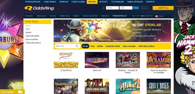 Oddsring Casino Sayfası Görüntüsü