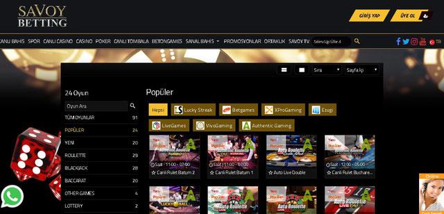Savoybetting Canlı Casino Sayfası Görüntüsü