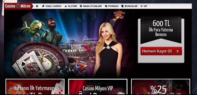 Casino Milyon Ana Sayfa Görüntüsü