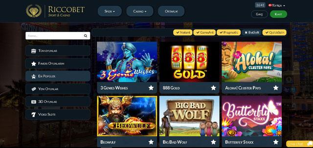 Riccobet casino sayfası