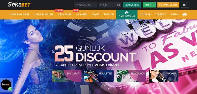 Sekabet Canlı Casino Sayfası Görüntüsü