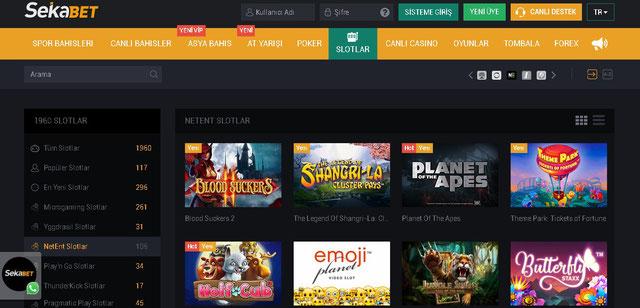 Sekabet Casino Sayfası Görüntüsü