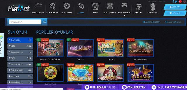 Piabet Casino Sayfası Görüntüsü