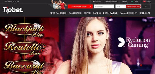 Tipbet Canlı Casino Sayfası Görüntüsü