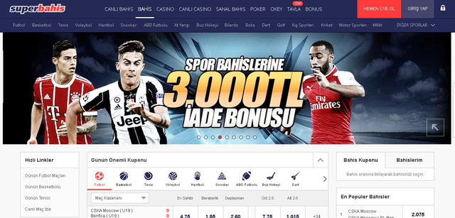 Süperbahis Spor Sayfası Görüntüsü