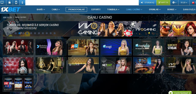 1xBet Canlı Casino Sayfası Görüntüsü