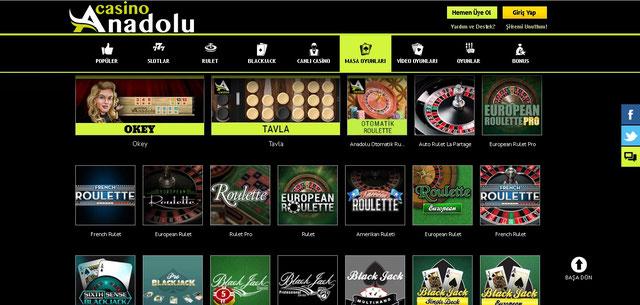Anadolu Casino Masa Oyunları