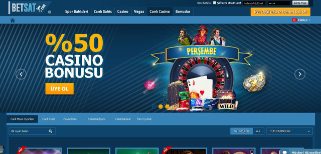 Betsat Canlı Casino Sayfası Görüntüsü