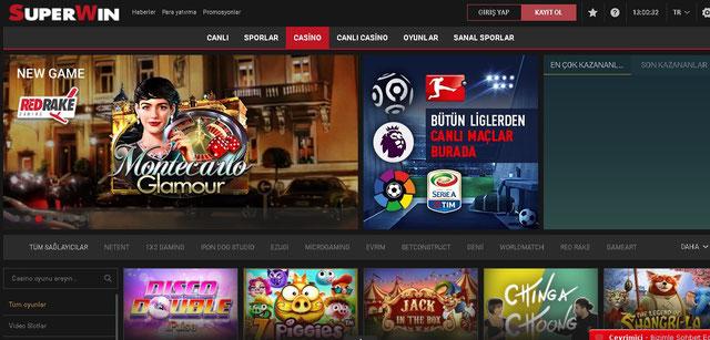 Süperwin Casino Sayfası Görüntüsü