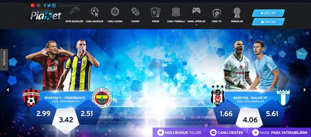 Piabet Ana Sayfa Görüntüsü