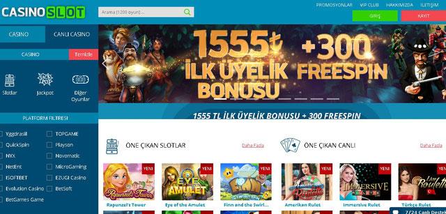 Casino slot ana sayfa görüntüsü