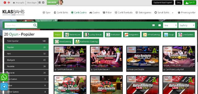 Klasbahis Canlı Casino Sayfası Görüntüsü