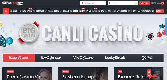 Süpertotobet Canlı Casino Sayfa Görüntüsü