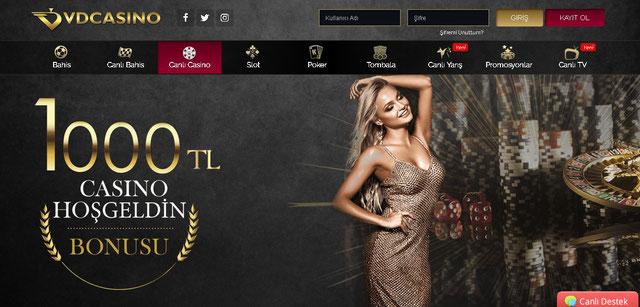 Vdcasino Canlı Casino Sayfası Görüntüsü
