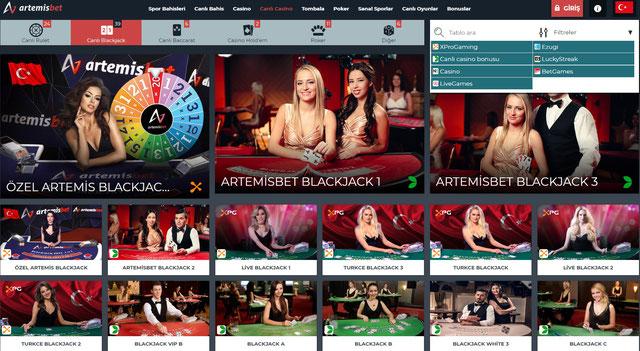 Artemisbet Canlı Casino Sayfa Görüntüsü