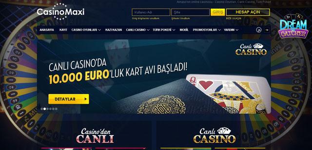 Casinomaxi Canlı Casino Sayfası Görüntüsü