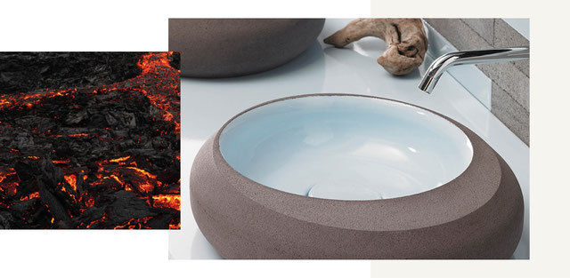 Pyrolave bietet mit seinem Lava Gestein ein Stein für Bad- und Küchenplanungen, sei es für Waschtische, Arbeitsplatten oder als Fliesenspiegel.