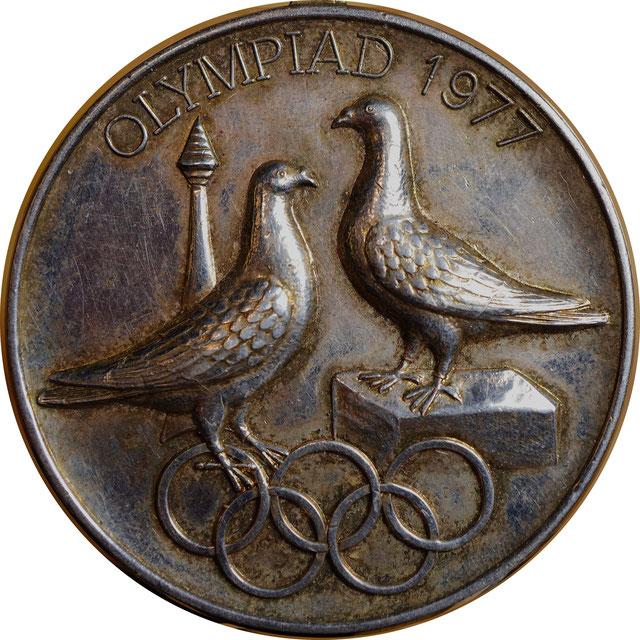 Medaille, Brieftauben Olympiade, 1977, Amsterdam, Verband Deutscher Brieftaubenzüchter, Brieftauben Historie, Brieftauben Geschichte