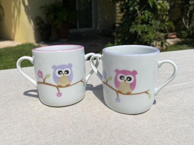 Tasses en porcelaine Hibou personnalisées