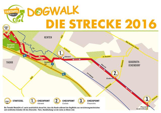 DogWalk der Tiertafel RheinErft e.V.  - die Strecke 2016