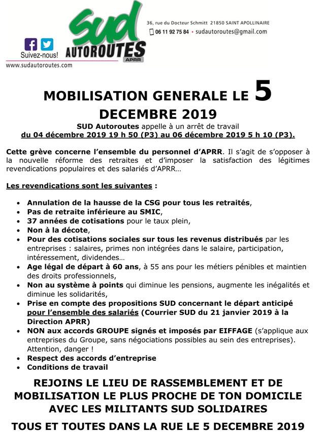 SUD APRR en grève le 5 décembre 2019