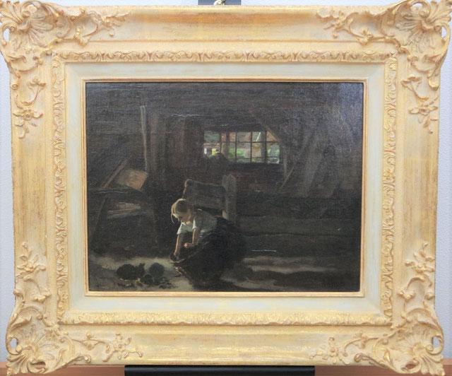 schilderij van anton mauve (1838-1888)_ anton mauve stalinterieur_ larense school schilderij
