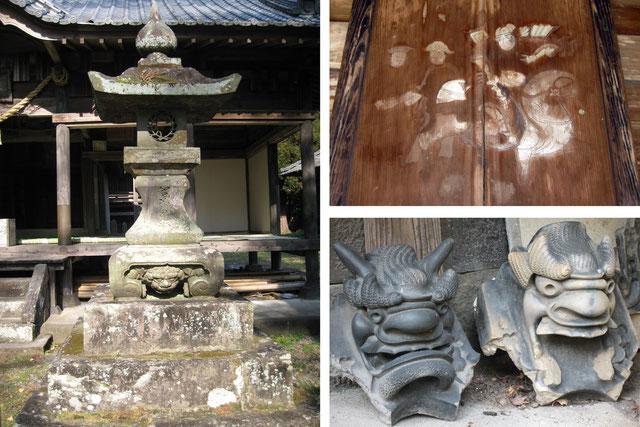 [左]石灯籠に踏まれた狛犬 [右上]中国人風の軍隊の絵 [右下]外された鬼瓦