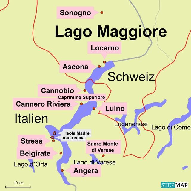 Bild: Karte vom Lago Maggiore