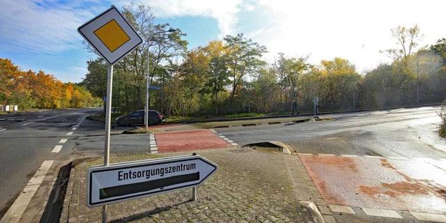 Das ehemalige Dyckerhoff-Gelände liegt an den Straßen Mainzer Landstraße (li.) und Schwarzenbergweg (re.). Derzeit ist der Bereich eingezäunt und durch hohen Bewuchs von keiner Seite einsehbar. (Foto: hbz/Michael Bahr)